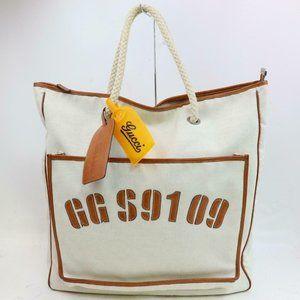 Auth Gucci Tote Bag White Canvas #3272G14